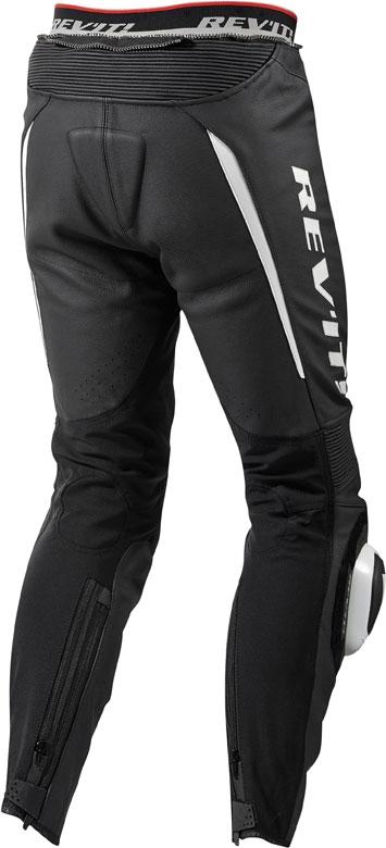 Pantaloni moto pelle Rev'it GT-R nero bianco accorciati