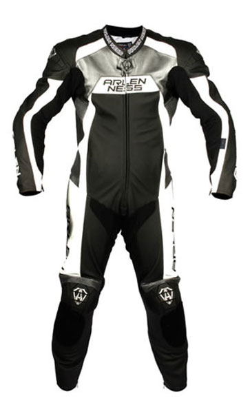 Arlen Ness AN leather suit Black White