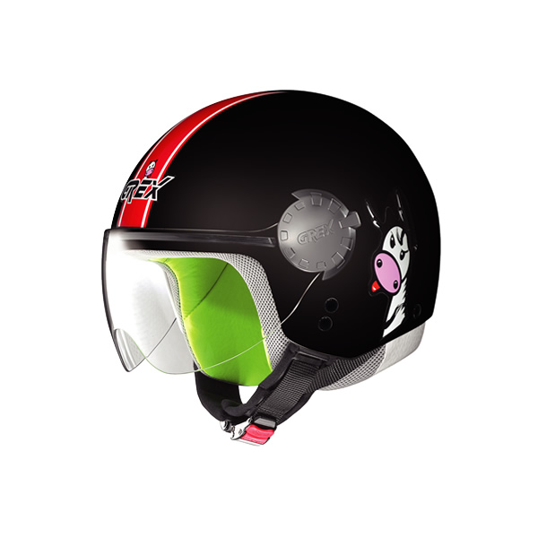Grex G1.1 Visor Teens kid demi-jet helmet black-red