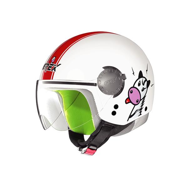 Grex G1.1 Visor Teens kid demi-jet helmet white-red