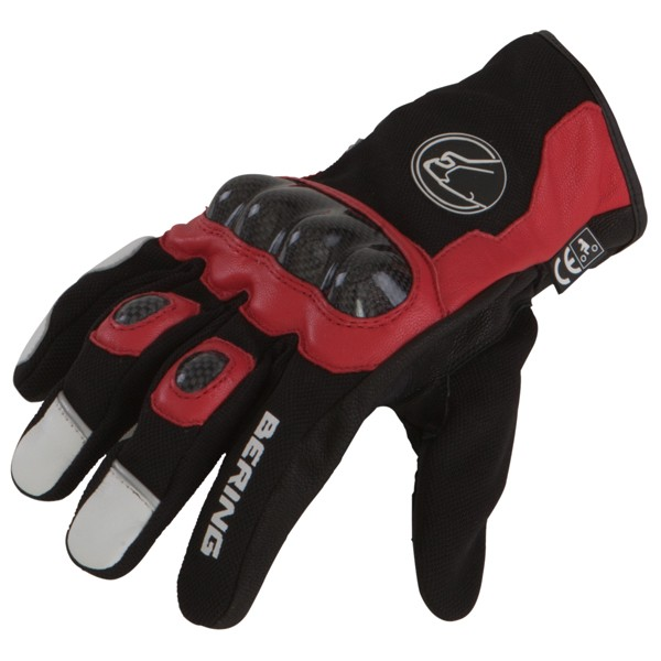 Summer Motorcycle Gloves Black Red leather Approved Bering Match