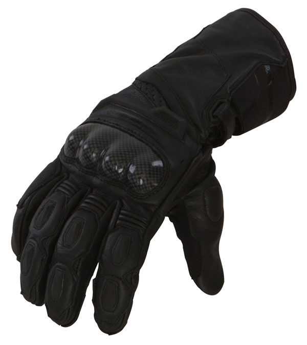 Leather motorcycle gloves approved Bering Spitfire Black