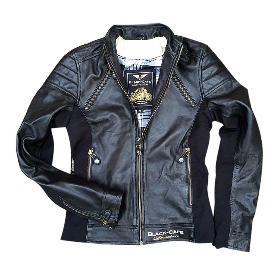 Giacca moto donna pelle Black Cafè London LJ10685 Nero