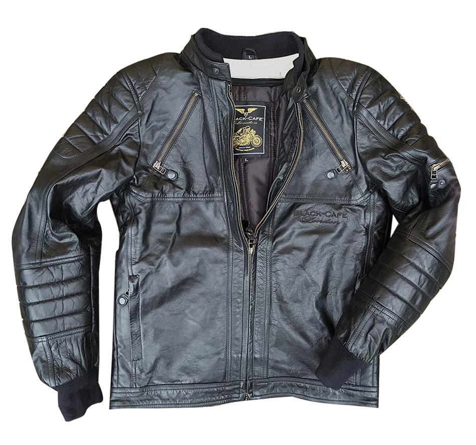 Giacca moto pelle Black Cafè London LJ10678 Nero