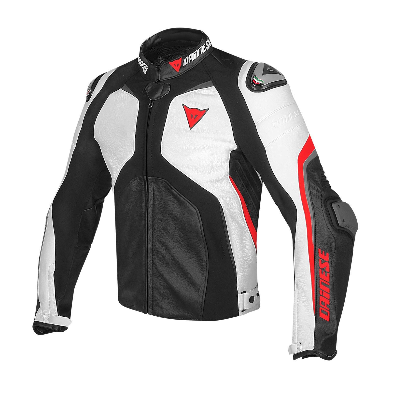 Giacca moto pelle Dainese Super Rider Nero Bianco Rosso