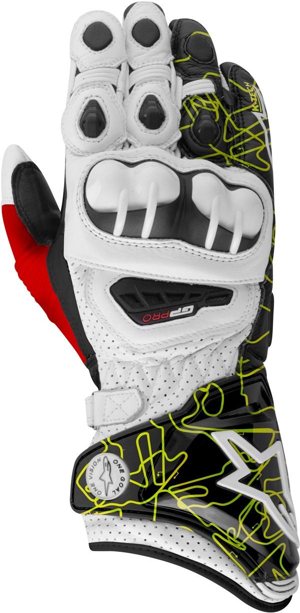 Alpinestars GP PRO gloves white-black-yellow tracks