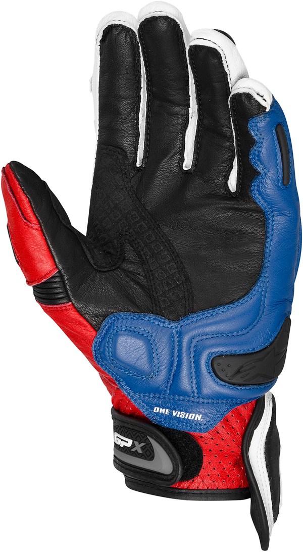 Guanti moto pelle Alpinestars GPX bianco-rosso-blu