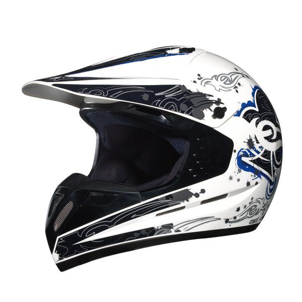 Casco moto cross Grex C1 Decor Bianco-Blu