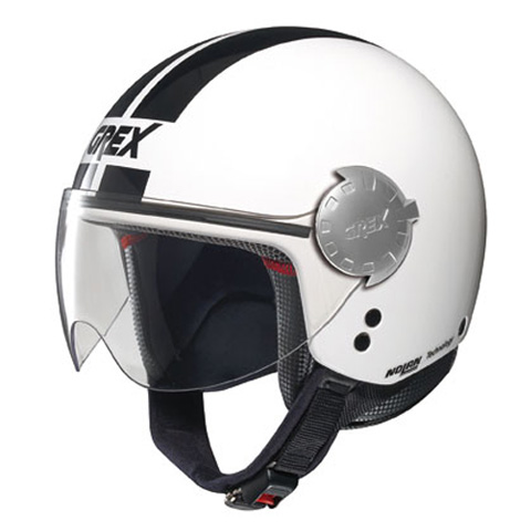Casco moto jet Grex DJ1 City Stripes Metal bianco