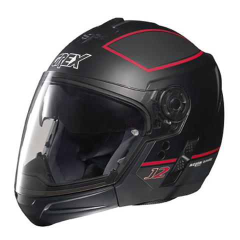 Casco moto Grex J2 PRO Blaze nero-rosso - mentoniera staccabile