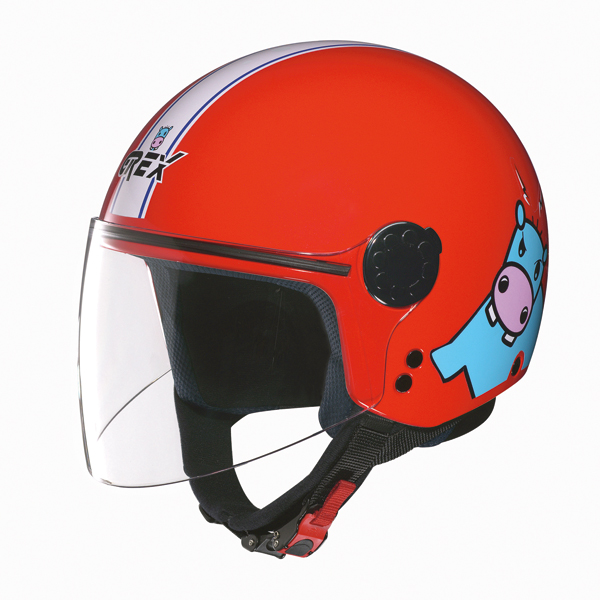 Grex K1 Visor Teens kid jet hemet Red