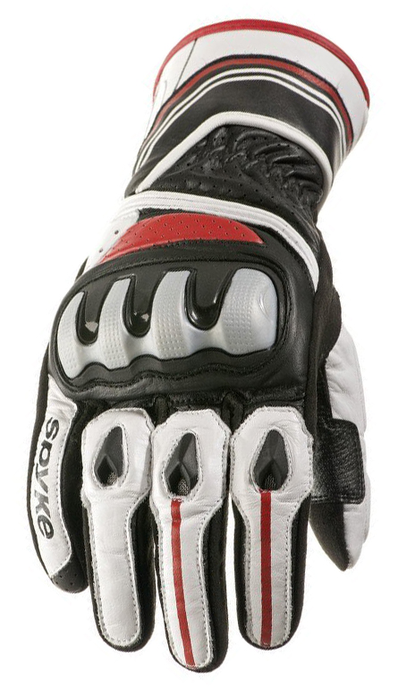Guanti moto pelle Spyke Racing RS Nero Bianco Rosso