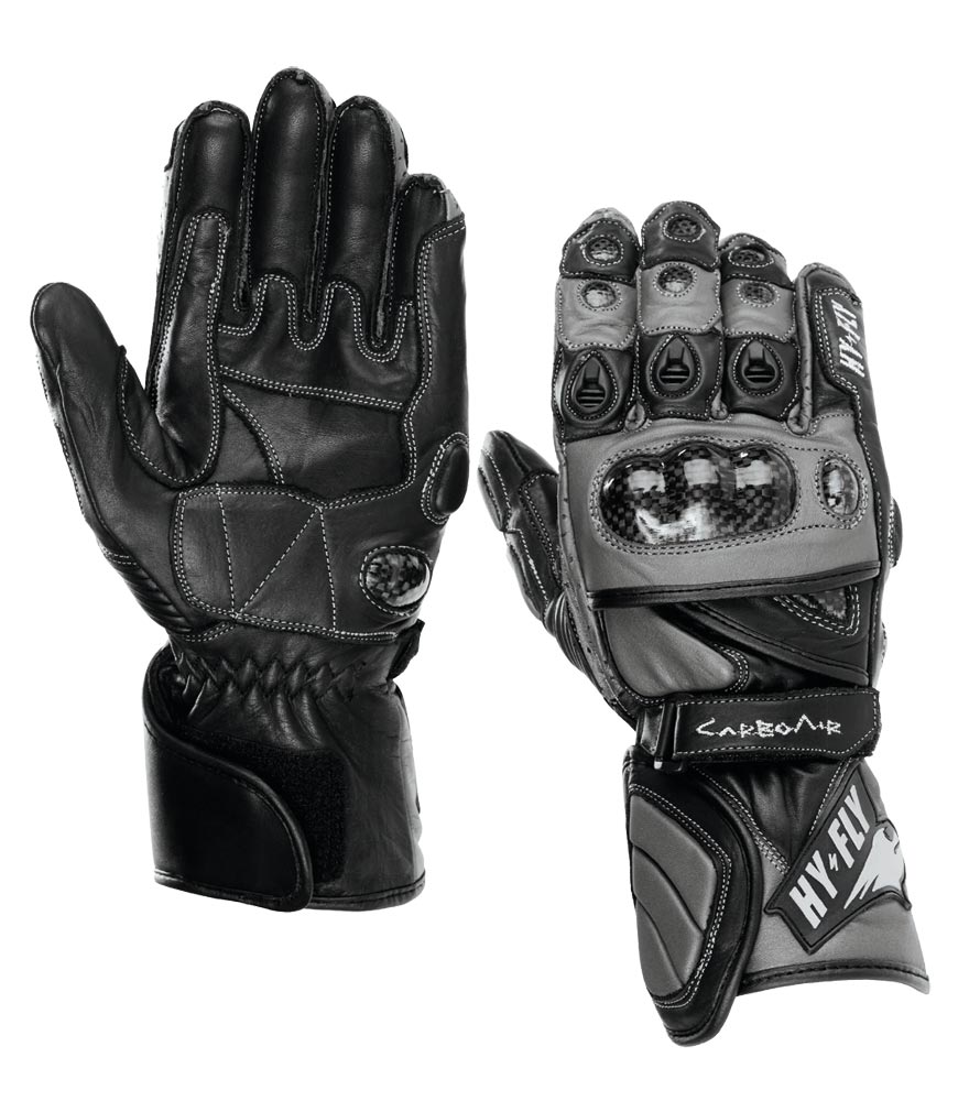 Motorcycle Racing Gloves Carbo Air Hy-Fly Color Black Gray