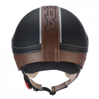 Casco demijet Kappa kv2 eco leather nero opaco pelle marrone