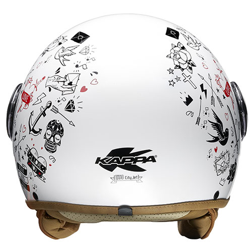 Kappa KV8 City Tattoo jet helmet White Black