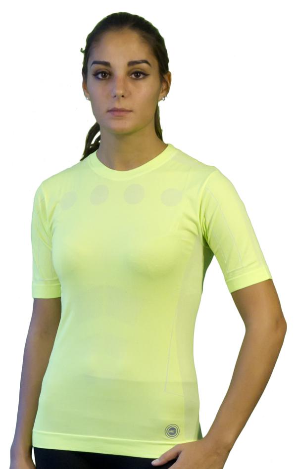 Short-sleeved Women Mico Skin Tech MC2 Green fluorescent