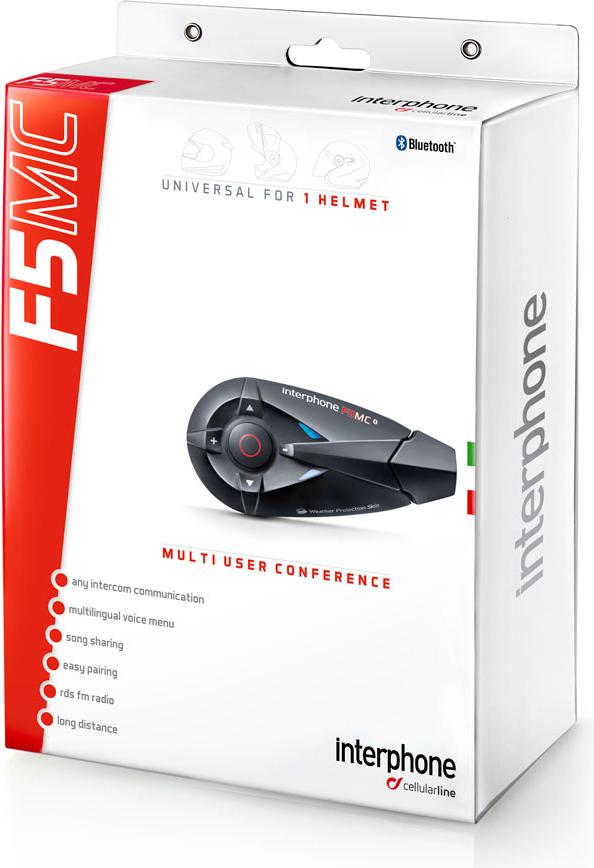 Interfono Bluetooth Cellular Line F5MC da casco Singolo