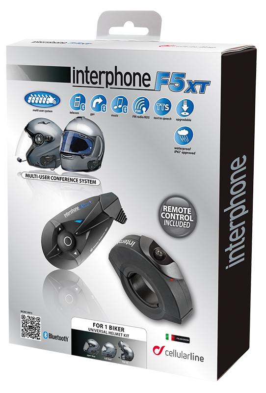Intercom Bluetooth Cellular Line F5XT single with Remote Cons