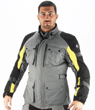 OJ Navigator motorcycle jacket triple layer grey-yellow-black