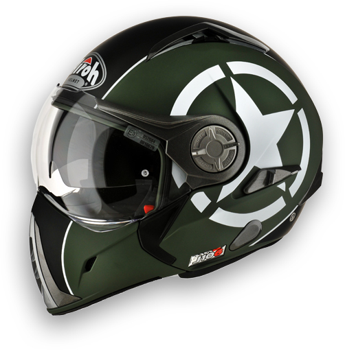 Casco moto Airoh J-106 Shot - doppia omologazione verde