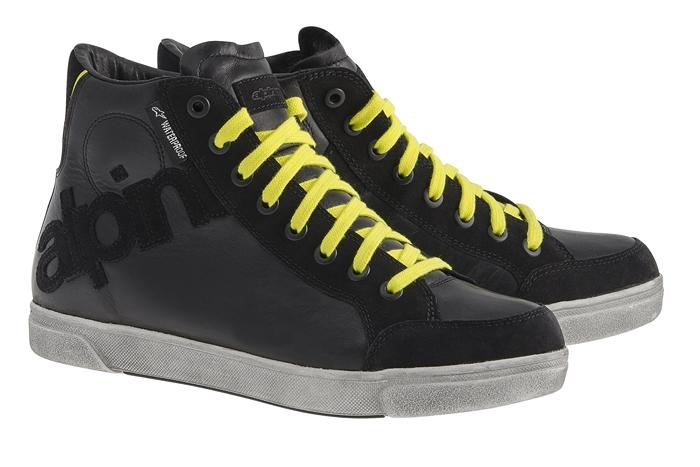 Alpinestars Joey Waterproof motorcycle shoes shiny black-yellow