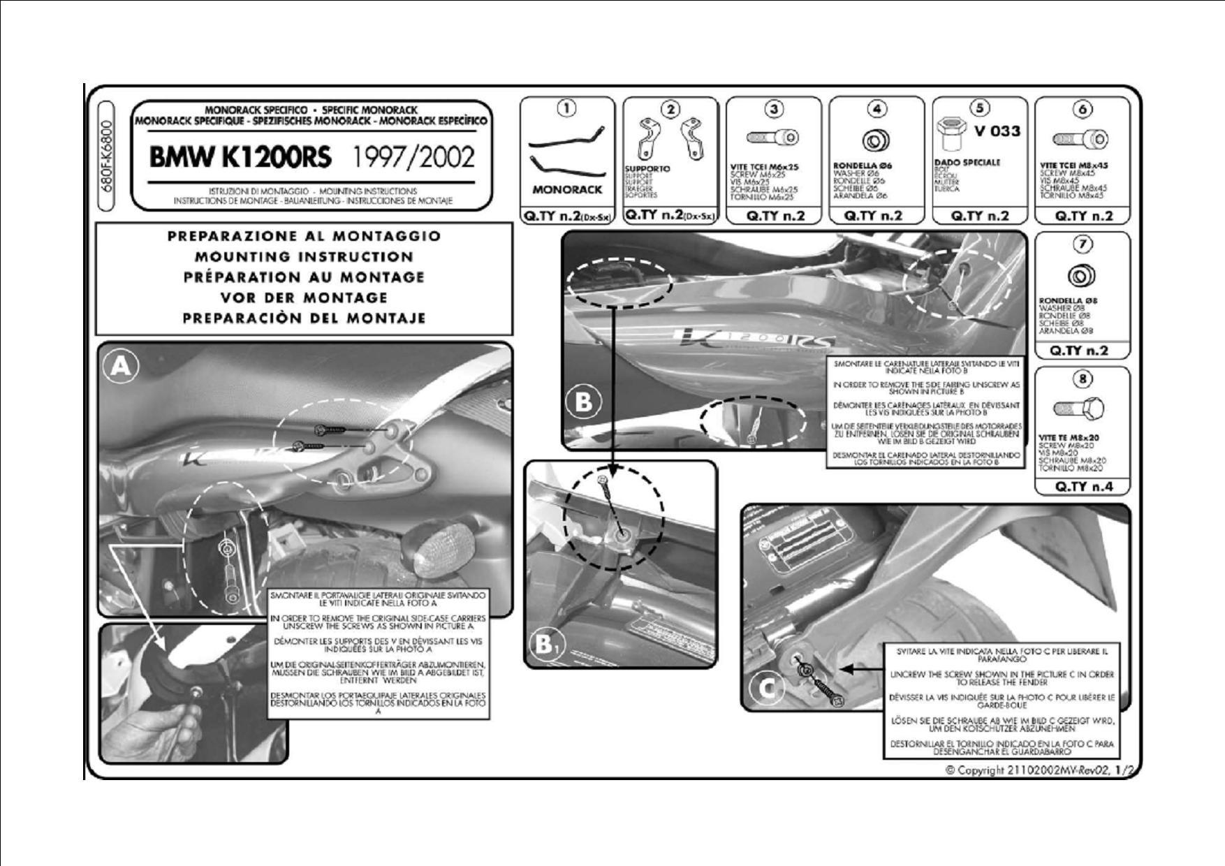 Attacco posteriore K6800 per bauletto MONOKEY® o MONOLOCK® per B