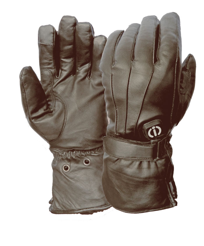 Klan heated motorcycle gloves leather Prestige-i Black