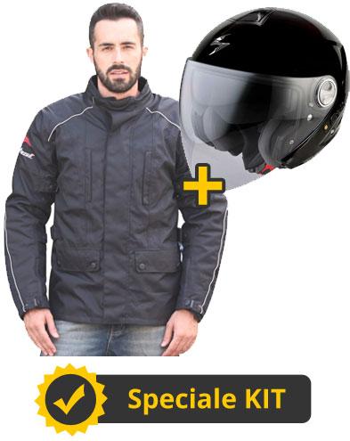 Kit ExoRange - Casco moto jet Scorpion + Giacca moto Befast Range nero