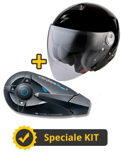 Kit FBeat 210 - Casco Jet Scorpion Exo 210 + Interfono Bluetooth Cellular Line FBEAT