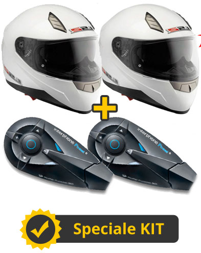 Kit F-Blade - 2 Caschi integrali con occhialino parasole + Coppia interfoni FBeat