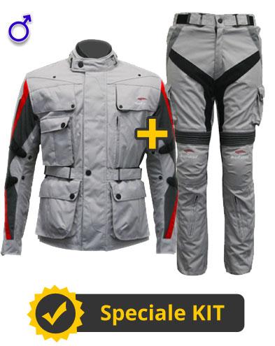 Kit Four Season - Giacca moto + Pantaloni moto - Four Climath Befast 4 stagioni Grigio Rosso e Grigio Antracite
