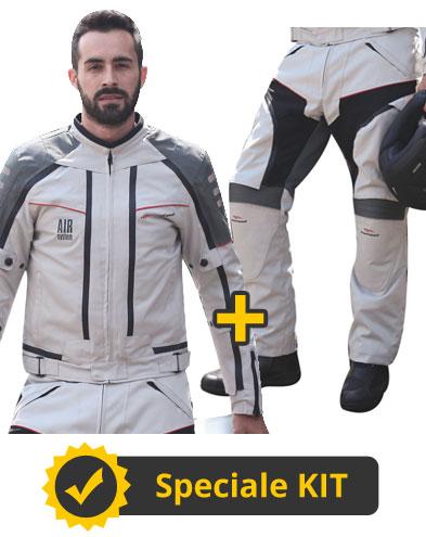 Kit All Season Full Grigio - Giubbotto moto 4 stagioni Befast All Season + Pantaloni moto Multiforce Befast con Air System
