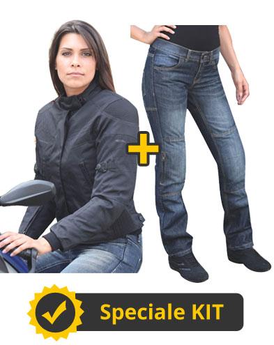 Kit Jennifer - Giacca donna 4 stagioni + Jeans con Kevlar e protezioni