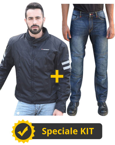 Kit Neptune - Giacca moto Befast New Winter Nero + Jeans moto Befast con protezioni