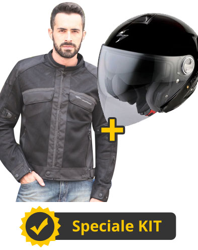 Kit Target210 - Giacca moto estiva Target + Casco jet Exo 210