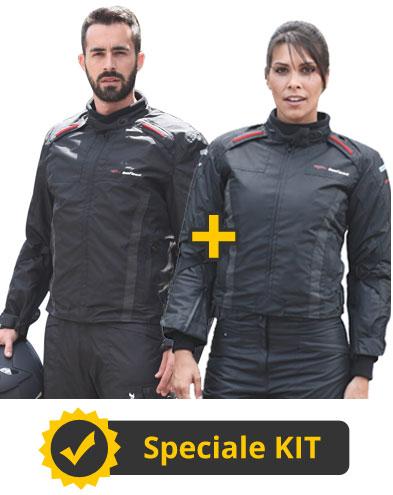 Kit Tuono LuiLei - Giacca moto uomo + Giacca moto donna - Befast Tuono WP Nero