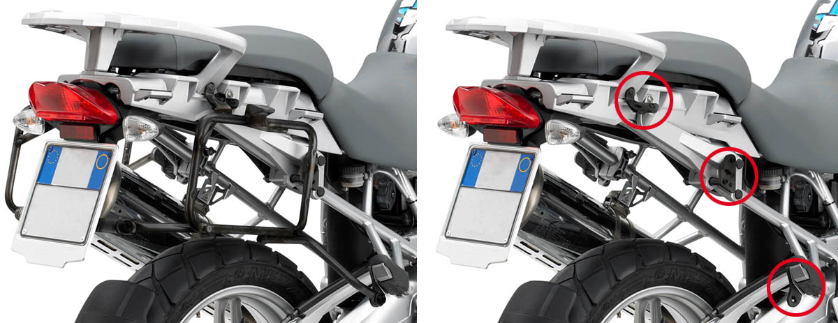 Luggage rack for BMW R1200GS KLR684 tubular side hooks