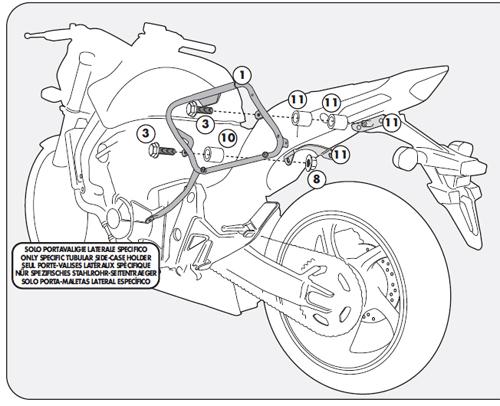 Portavaligie laterale KLX1102 per Kappa K33 Monokey Side