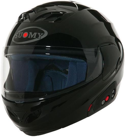 Casco moto modulare Suomy D20 + SCS Plain nero lucido