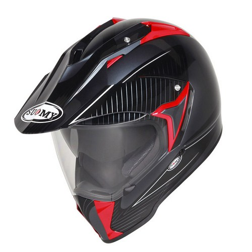 Casco moto enduro Suomy Mx Tourer Special anthracite rosso