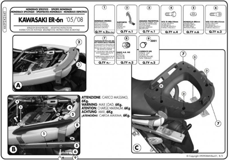 Staffe Monorack specifiche kz445 per kawasaki er 6n/er 6f