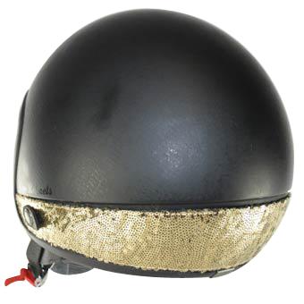 Love Helmet neck cover sequins gold
