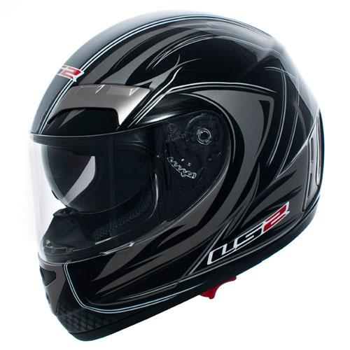 Casco moto integrale in fibra LS2 Stealth FF 375.6 nero lucido