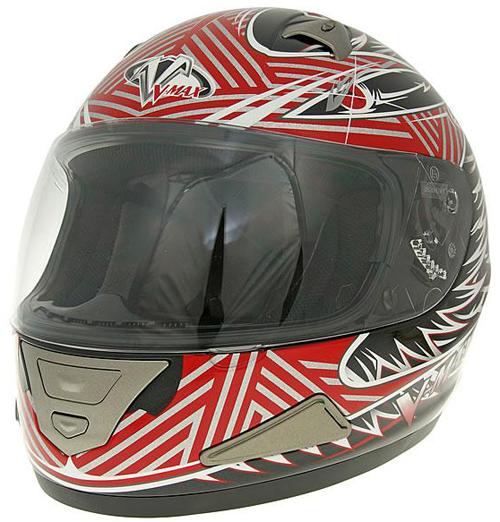 V-max Mach1 Fierce graphic full face helmet Red