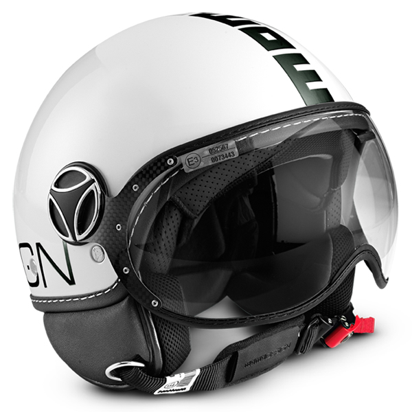 Casco jet Momo Design Fighter Plus Bianco Opaco Nero