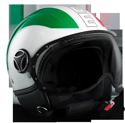 Casco moto Momo Design Avio Verde Bianco Rosso 150° Outline nero