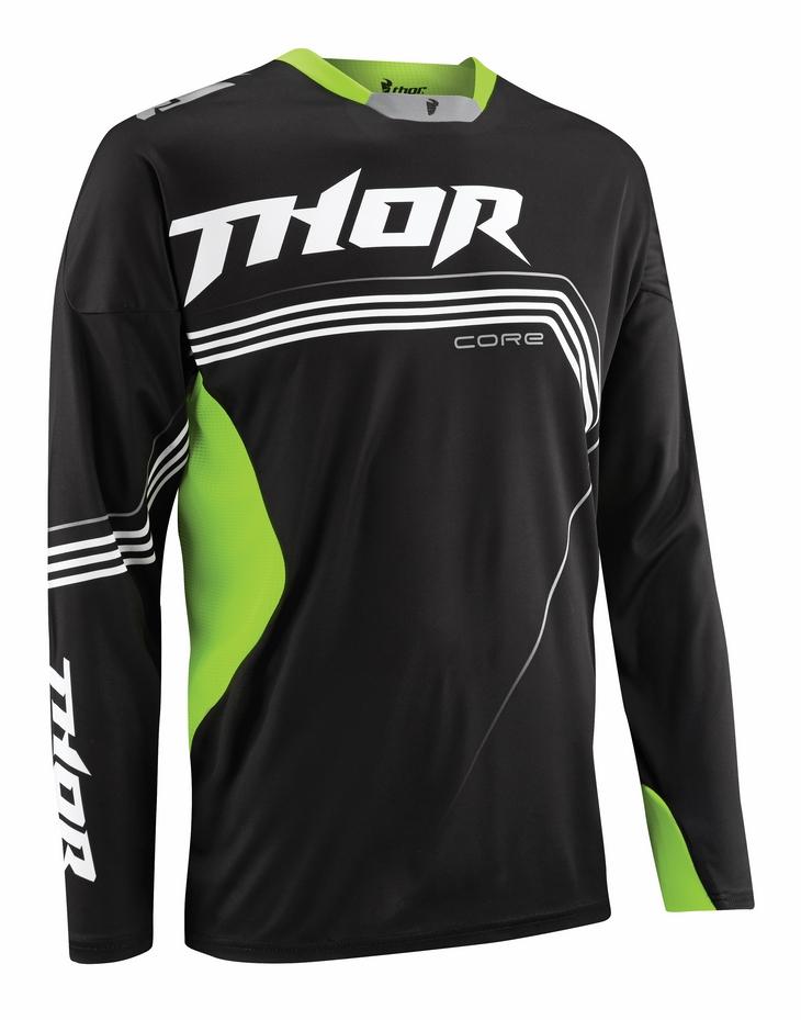 Maglia cross Thor Core Bend nero verde fluo