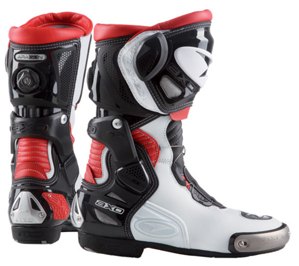 Aragon AXO Motorcycle Boots White Black Red