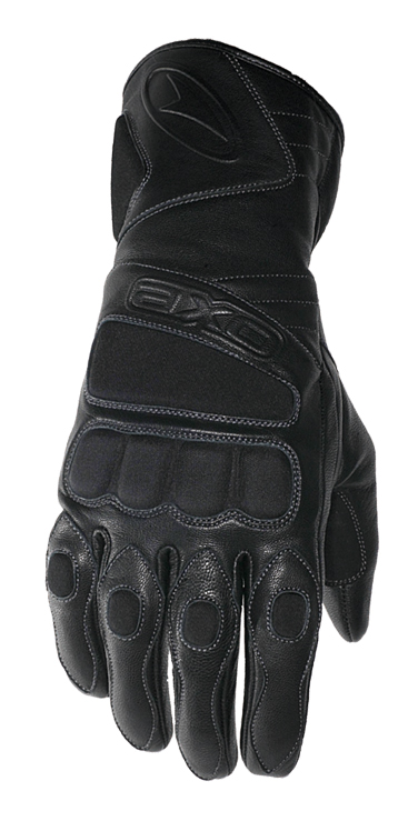 Motorbike Leather Gloves AXO Loop Black