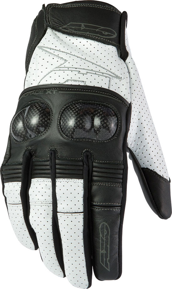 Summer Leather Motorcycle Gloves AXO Pro Race XT Black White